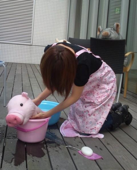 ミンチさんとお風呂.JPG