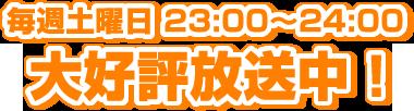 毎週土曜日 23:00~24:00 大好評放送中!
