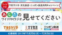 <font color=deeppink><strong>★New!</strong></font>TBSラジオ・文化放送・ニッポン放送共同キャンペーン「あなたのワイドFMラジオ 見せてください!」